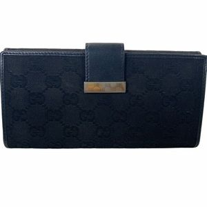 Gucci Wallet long Black canvas leather GG
